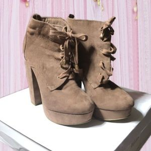 Taupe High Heel Lace Up Boots
